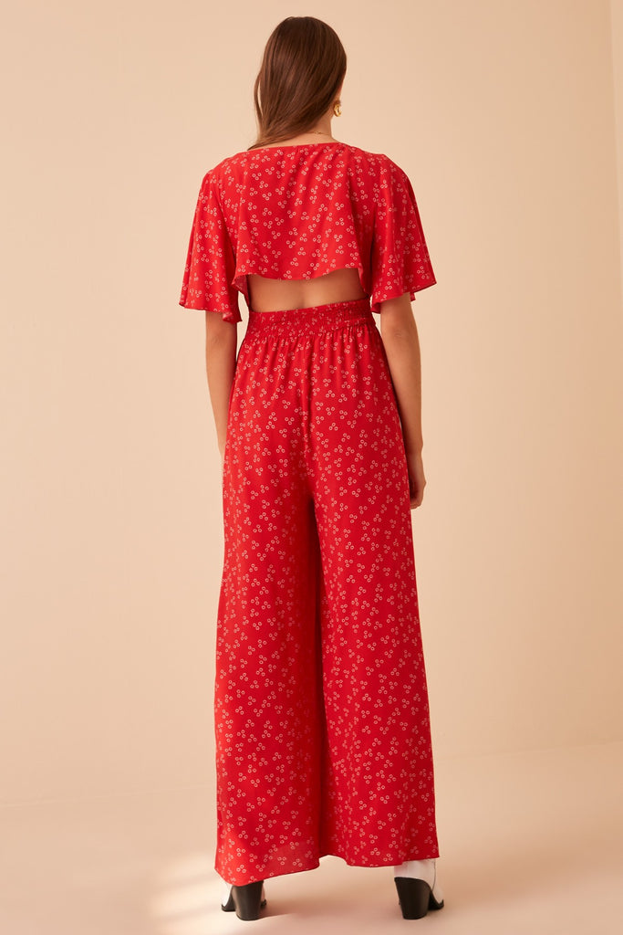 FRIDA PANTSUIT red ditsy doo