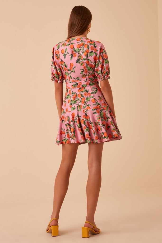ARANCIATA WRAP DRESS pink clementine