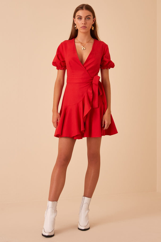 ARANCIATA WRAP DRESS red