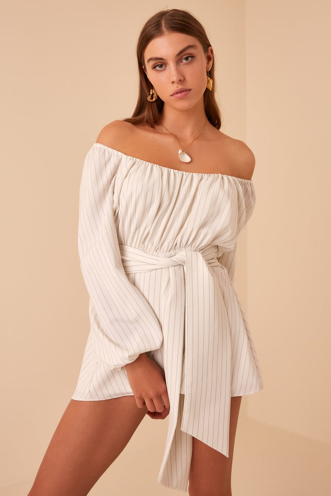 FLAMENCO PLAYSUIT ivory stripe