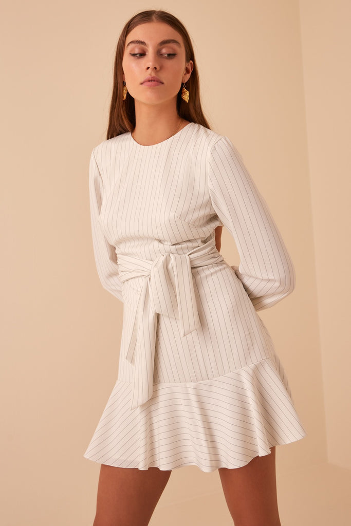 FLAMENCO LONG SLEEVE DRESS ivory stripe