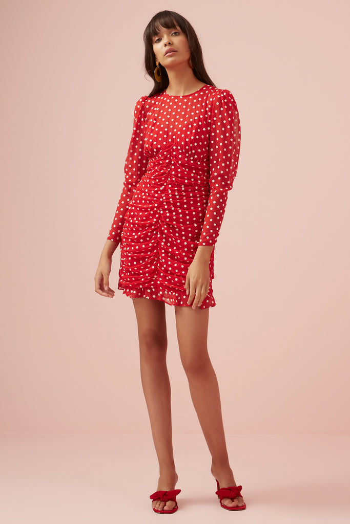 BLOSSOM LONG SLEEVE DRESS red w white