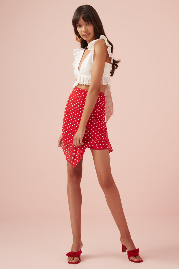 BLOSSOM SKIRT red w white