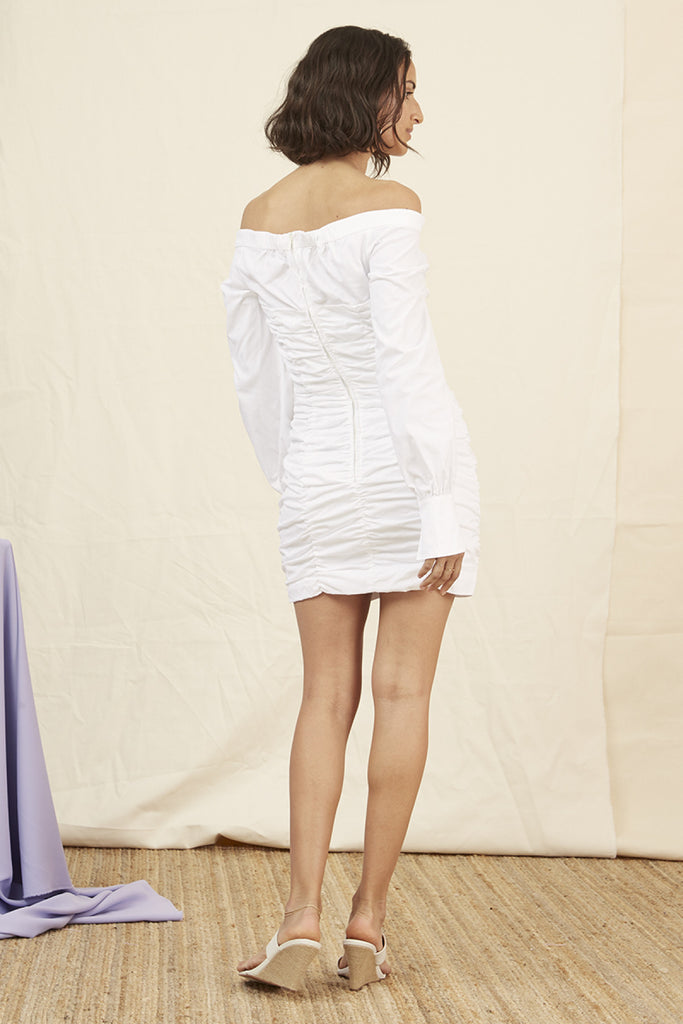BAILEY SHIRTING DRESS white