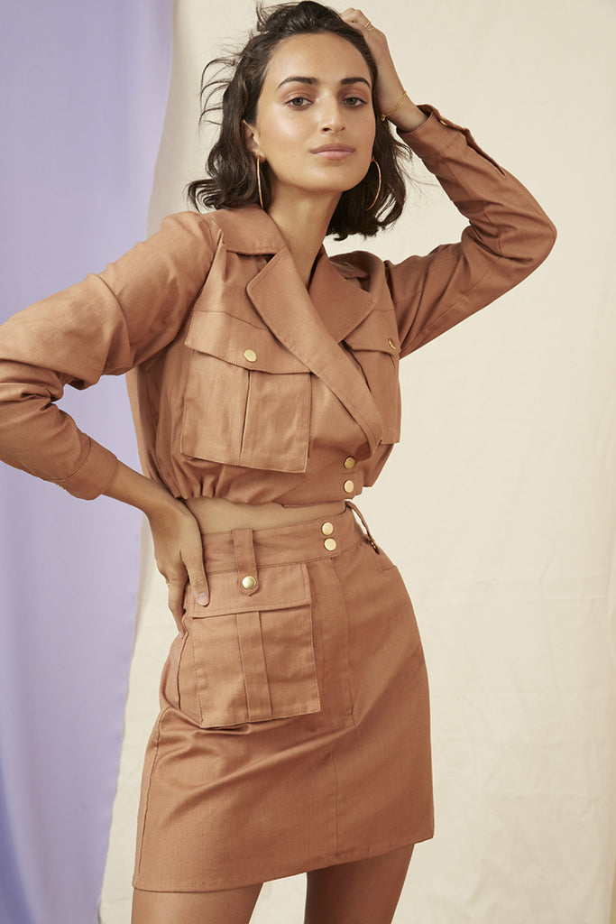 UTILITY CROP JACKET tan