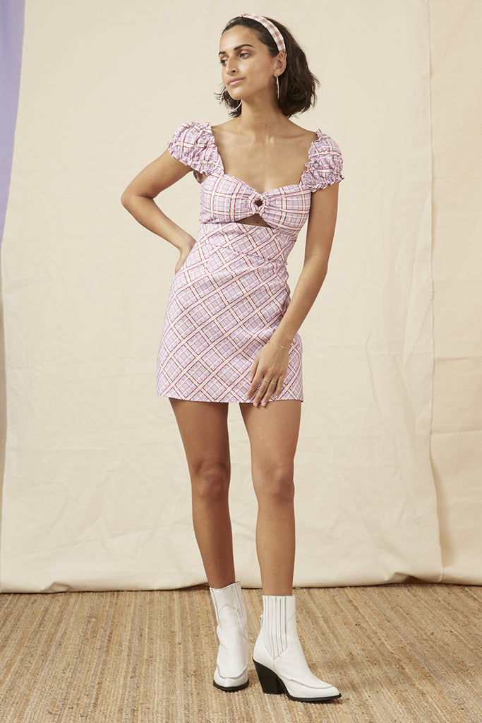 NOSTALGIA MINI DRESS lilac check
