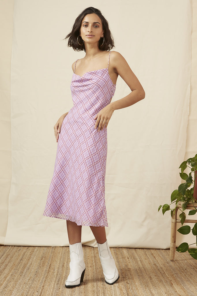 NOSTALGIA DRESS lilac check