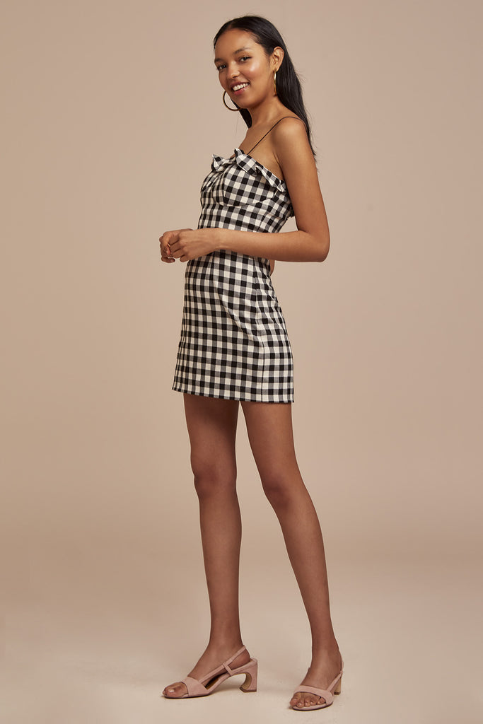 GIGI MINI DRESS black check