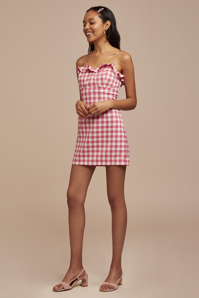 GIGI MINI DRESS fuschia check