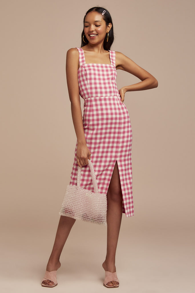 GIGI DRESS fuschia check