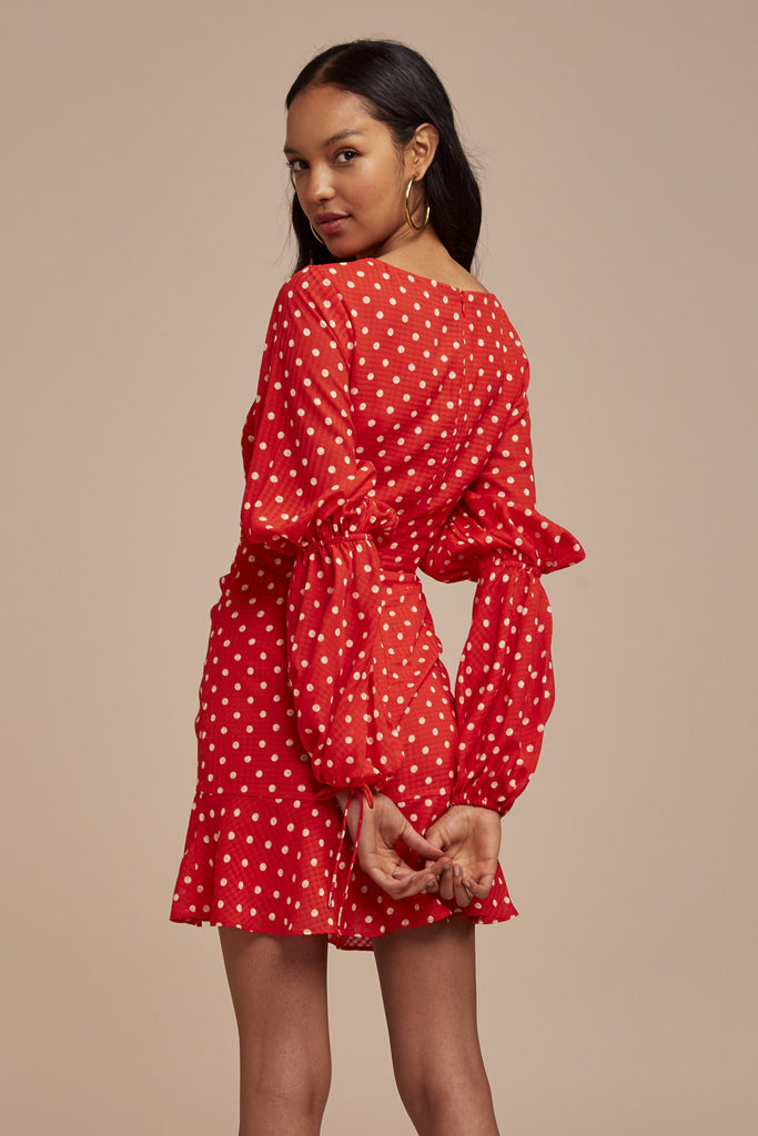 ROSIE LONG SLEEVE DRESS red w nude spot
