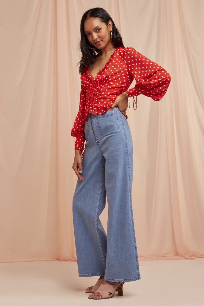 ROSIE TOP red w nude spot