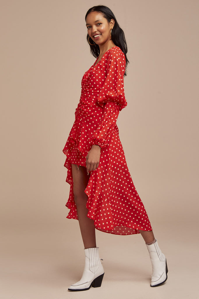 ROSIE DRESS red w nude spot