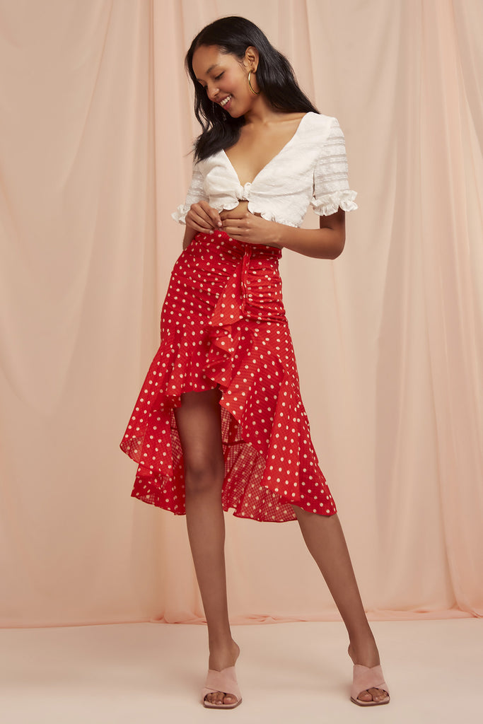 ROSIE SKIRT red w nude spot