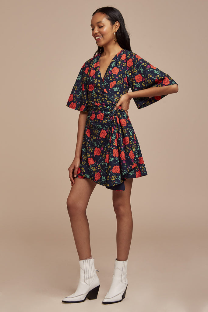 HANA SHORT SLEEVE MINI DRESS navy floral