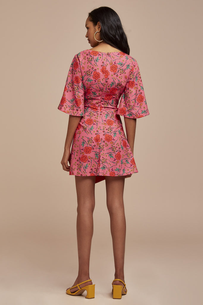 HANA SHORT SLEEVE MINI DRESS fuschia floral