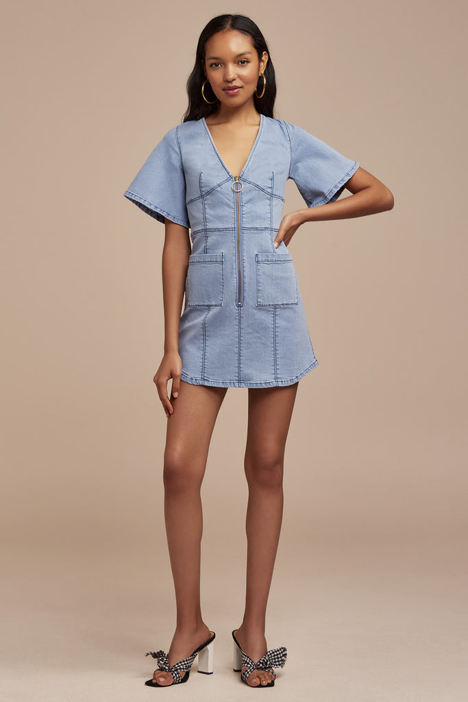 CLAUDIA DENIM MINI DRESS blue