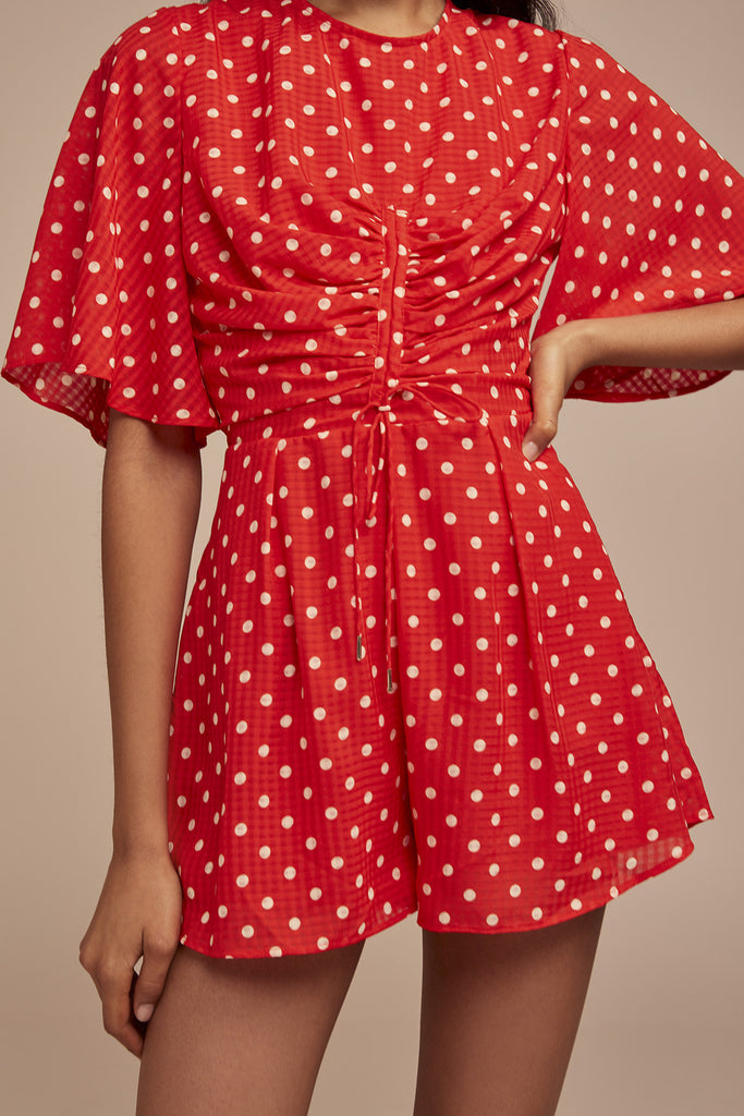 ROSIE PLAYSUIT red w nude spot