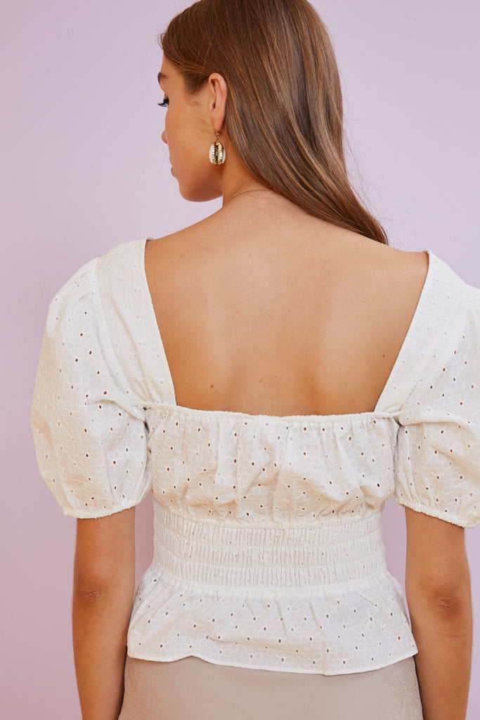 LACY TOP white