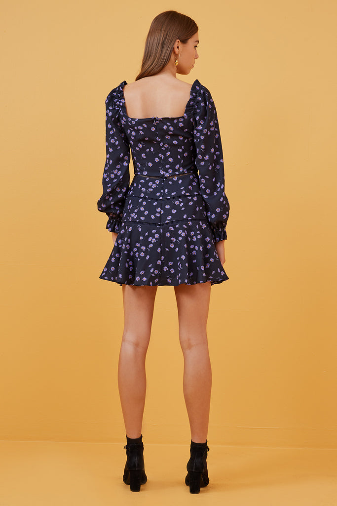 MAE LONG SLEEVE MINI DRESS navy daisy