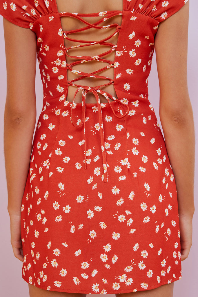 MAE MINI DRESS red daisy