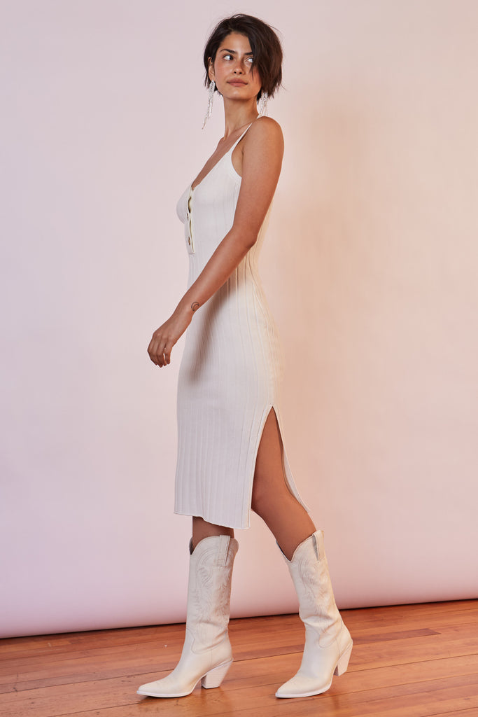WEST COAST KNIT DRESS white