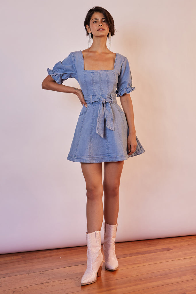 MIAMI DENIM MINI DRESS washed blue