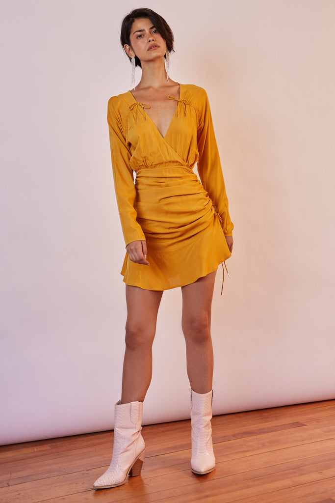 BLOOM LONG SLEEVE MINI DRESS warm sunflower