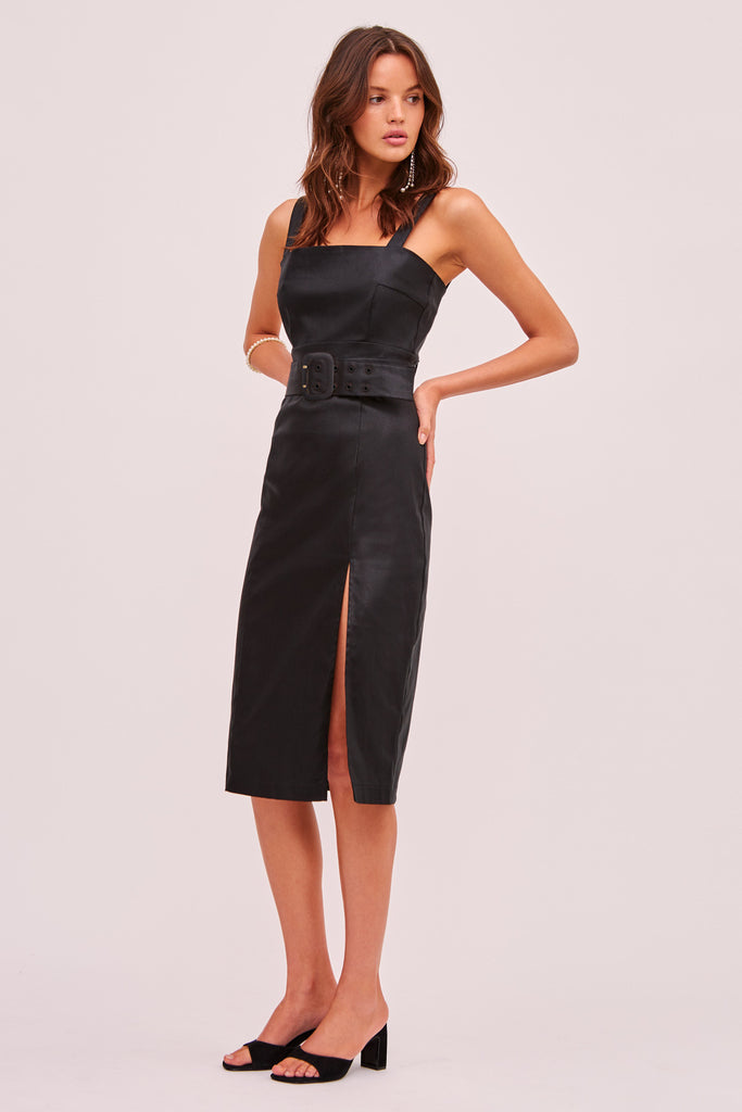 LOTTIE MIDI DRESS black
