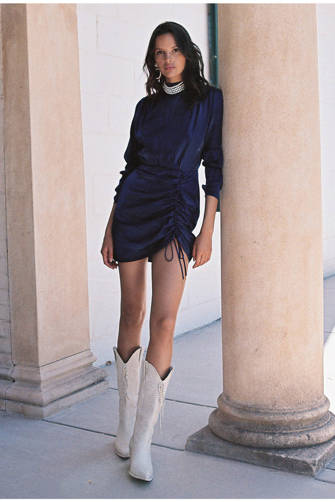 YASMINE LONG SLEEVE DRESS navy