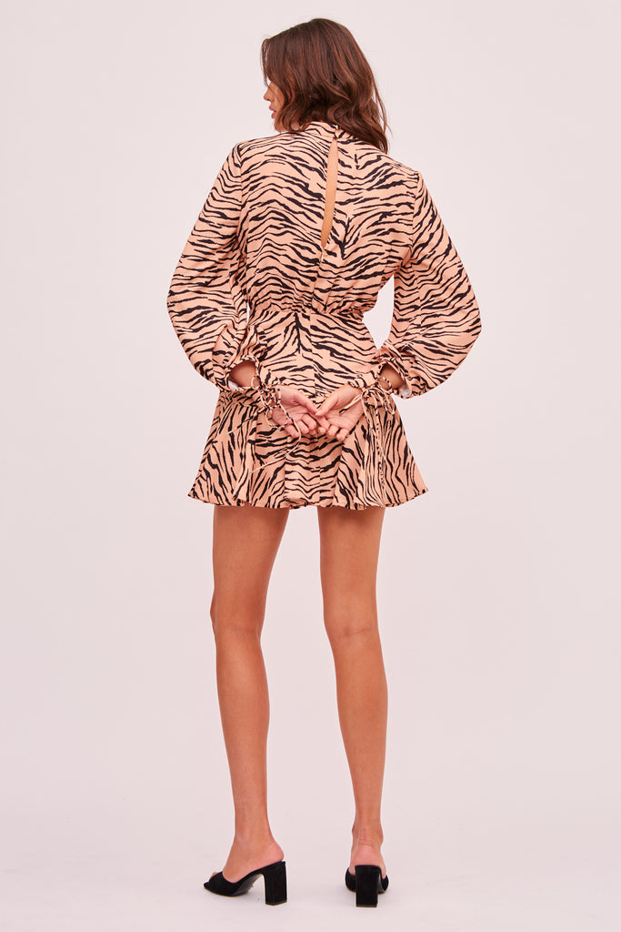 ROMY LONG SLEEVE DRESS tan tiger
