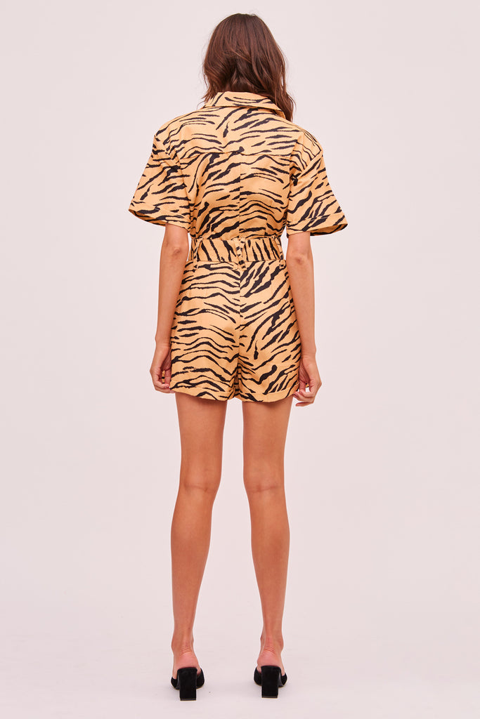 HELOISE PLAYSUIT tan tiger
