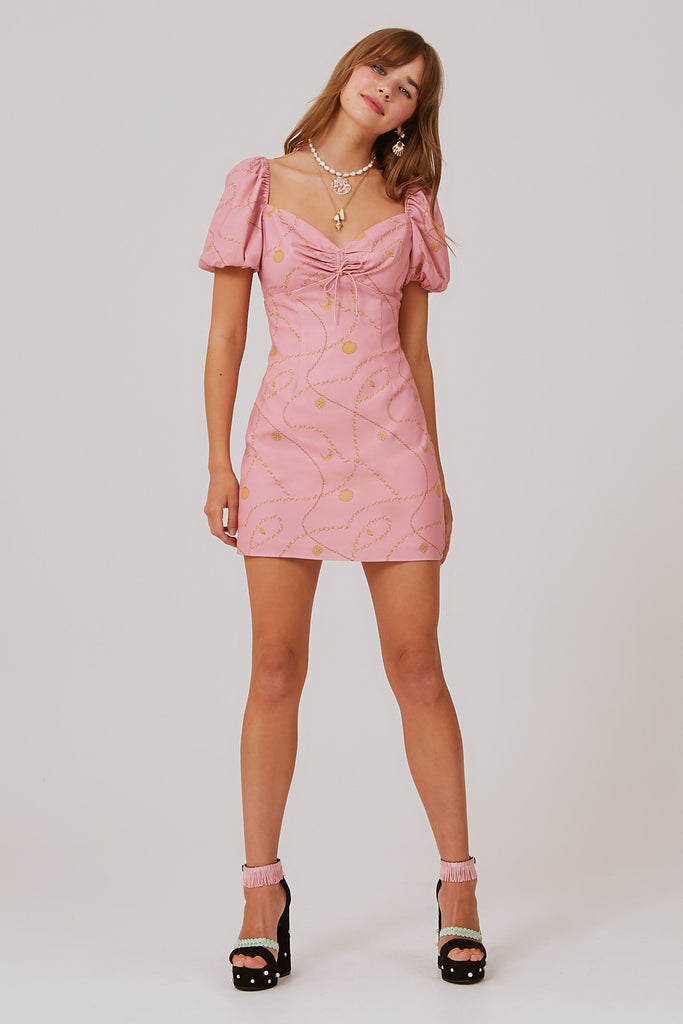CHAINS MINI DRESS pink charms