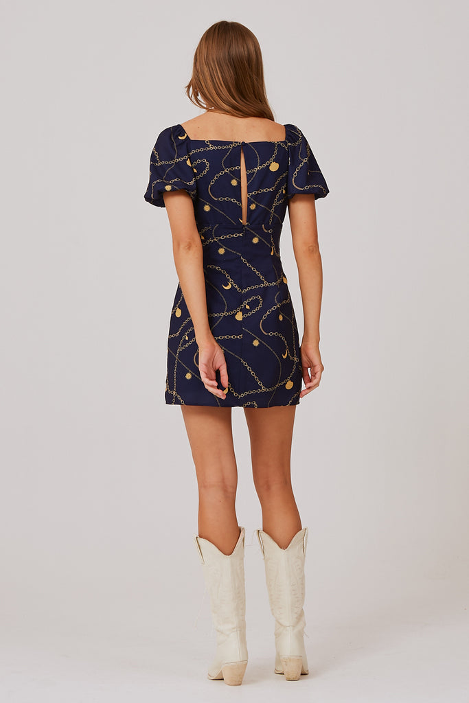 CHAINS MINI DRESS navy charms