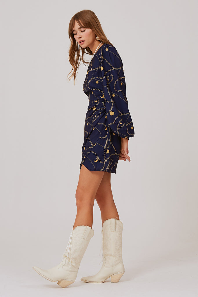 CHAINS LONG SLEEVE DRESS navy charms