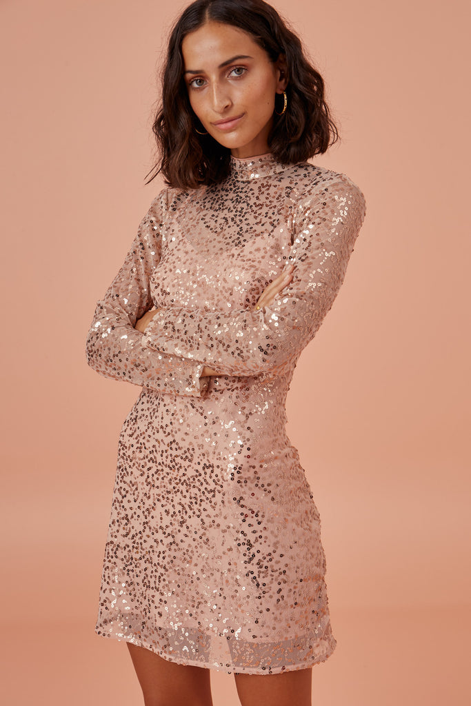 SELENA LONG SLEEVE DRESS champagne