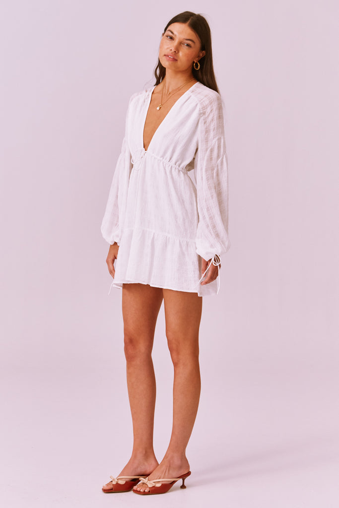 LUCIETTI LONG SLEEVE MINI DRESS ivory