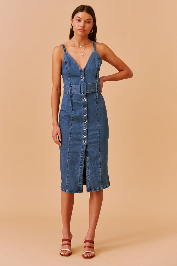 COCO MIDI DRESS washed blue