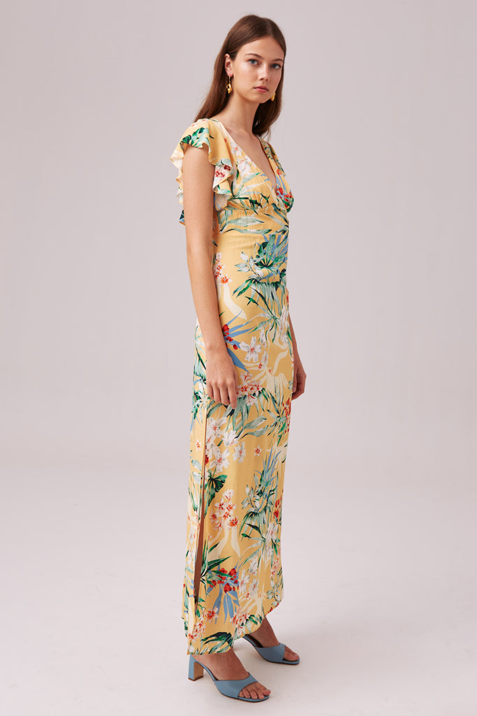 PARADISE MAXI DRESS lemon tropical