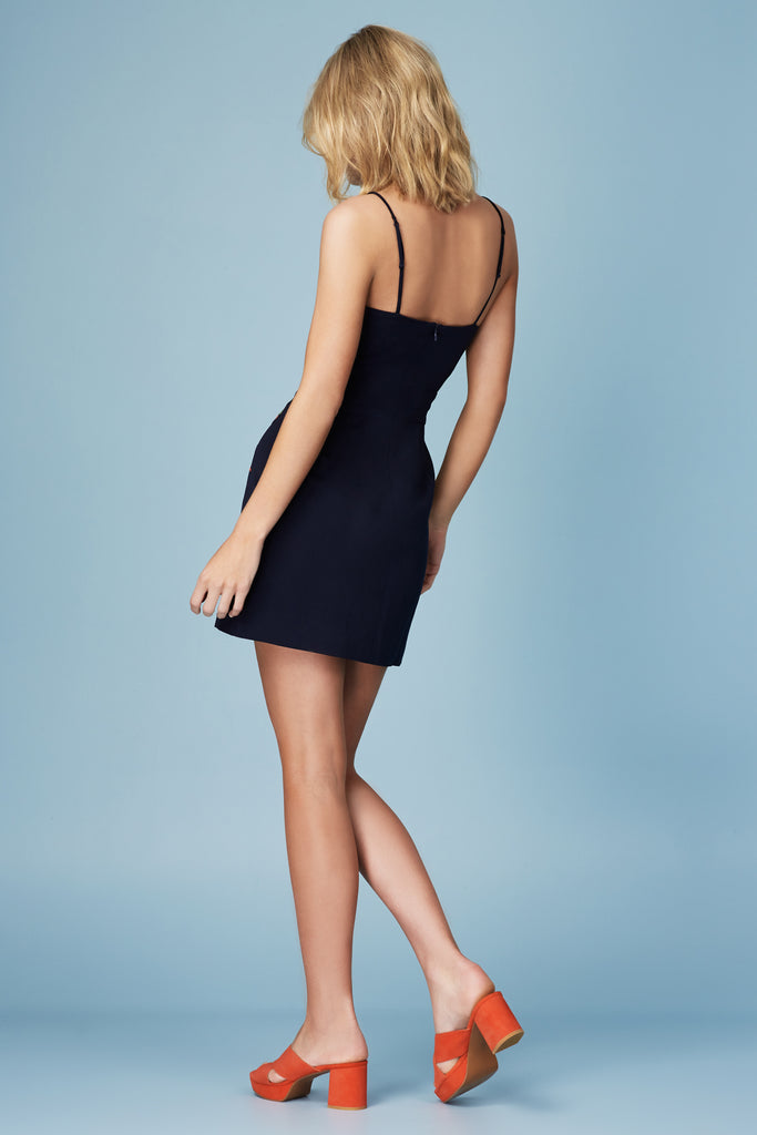 ETUDE EMBROIDERED MINI DRESS navy