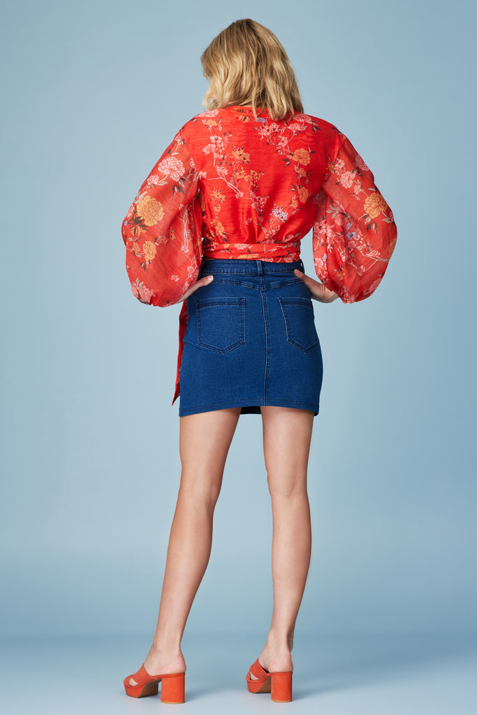 FLICKER LONG SLEEVE TOP red floral