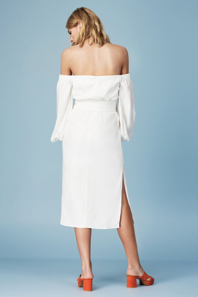 INSTINCT LONG SLEEVE DRESS ivory