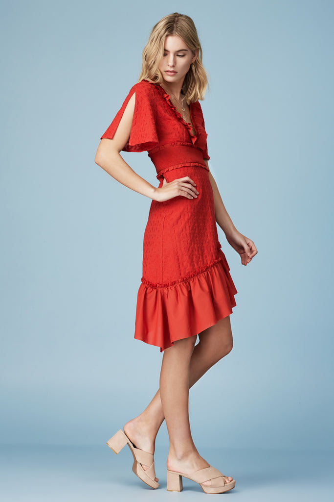 MEMENTO MIDI DRESS red