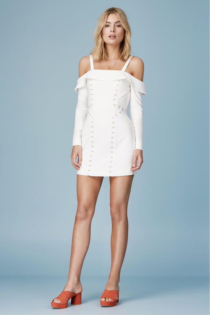 TALISMAN LONG SLEEVE MINI DRESS ivory