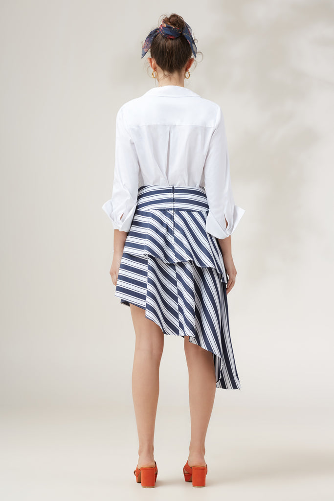 LONGSHOT STRIPE SKIRT navy stripe