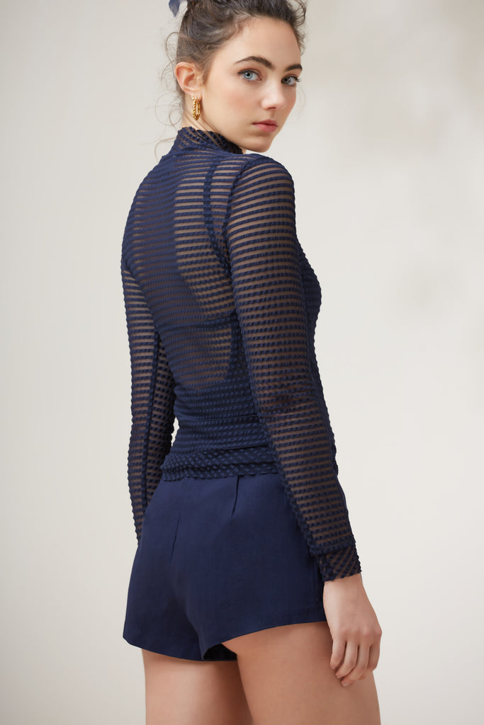 MIRAGE LONG SLEEVE TOP navy