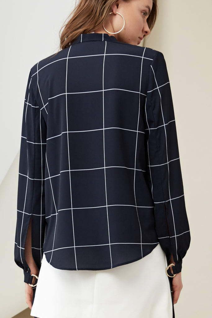 CURTIS BLOUSE PRINT navy check