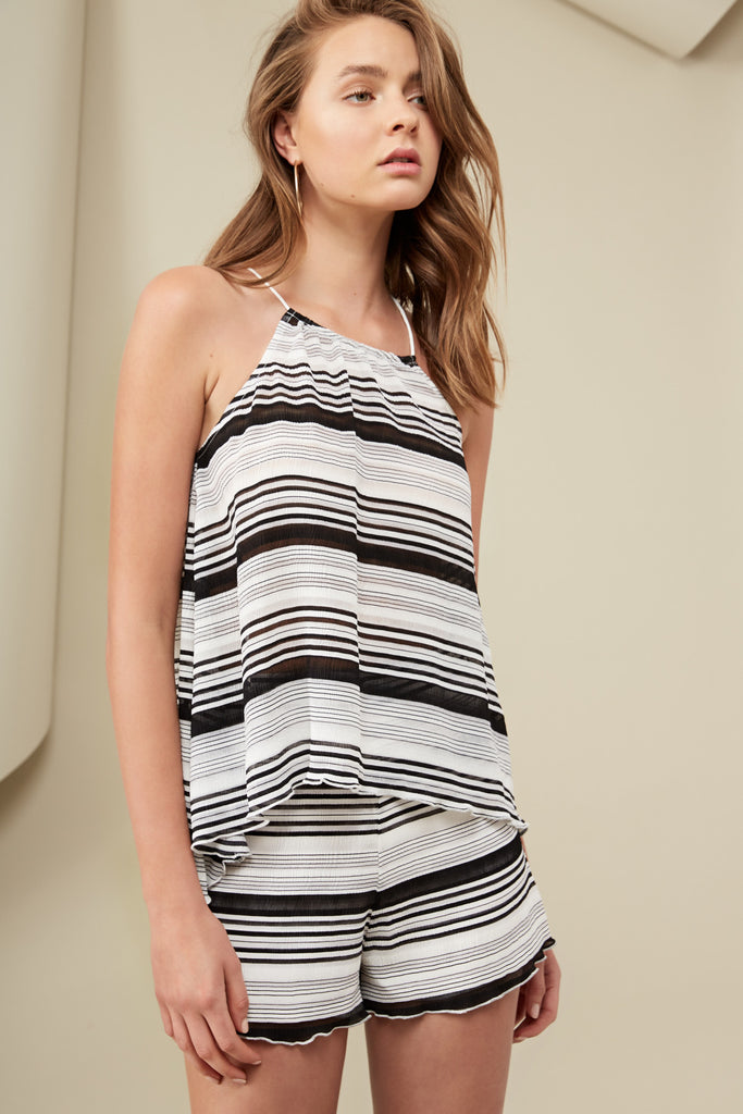PIERRE TOP PRINT black stripe