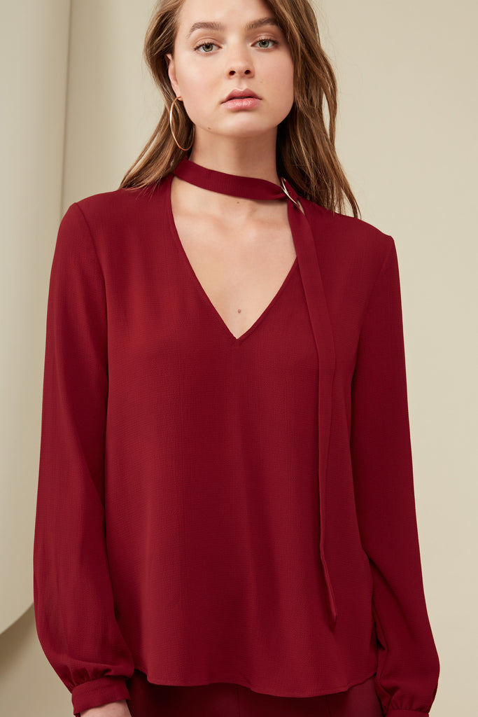 CURTIS BLOUSE oxblood