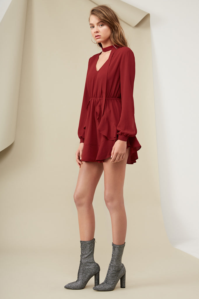 CURTIS LONG SLEEVE DRESS oxblood
